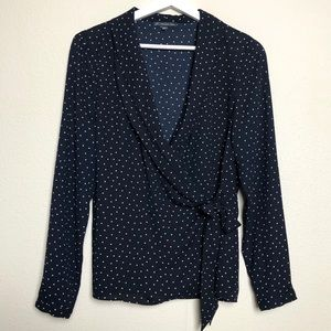 Adrianna Papell Navy Polka Dot Wrap Top